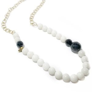 Glass Bead & Sterling Skull Asymmetric Necklace